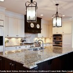 New Venetian Gold Granite  Traditional Kitchen with Brown Wood Island