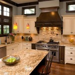 New Venetian Gold Granite  Traditional Kitchen with Crown Molding