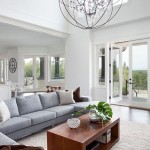 Orb Chandelier  Contemporary Living Room with Twist Stool