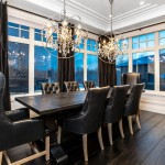 Orb Chandelier  Transitional Dining Room with Black