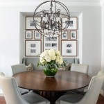 Orb Chandelier  Transitional Dining Room with Dining Nook
