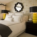 Quatrefoil Mirror  Eclectic Bedroom with Gold