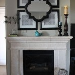 Quatrefoil Mirror  Eclectic Living Room with Mantel Mirror