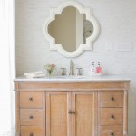Quatrefoil Mirror  Transitional Bathroom with White Curtain