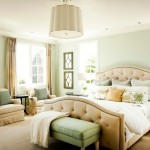 Sherwin Williams Sea Salt  Traditional Bedroom with Beige Foot Board