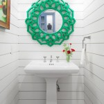 Shiplap Siding  Beach Style Powder Room with Green Mirror Frame