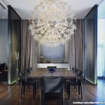 Sputnik Chandelier  Contemporary Dining Room with Artwork