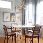 Sputnik Chandelier  Eclectic Dining Room with Brass Chandelier
