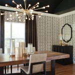 Sputnik Chandelier  Transitional Dining Room with Buffet