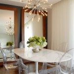 Sputnik Chandelier  Transitional Dining Room with Wood Flooring