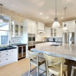 Super White Quartzite  Traditional Kitchen with Pendant Light