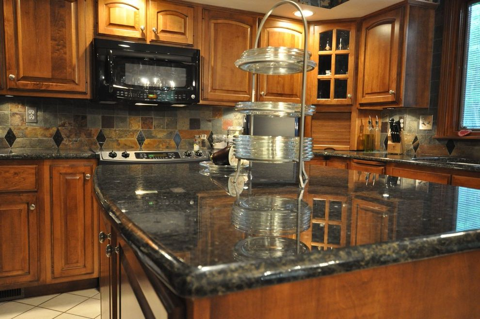Uba Tuba Granite Eclectic Kitchen With Tile Backsplash
