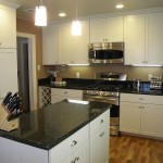 Ubatuba Granite  Traditional Kitchen with Microwave Hood