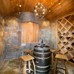 Wine Barrel Chandelier  Mediterranean Wine Cellar with Wood Ceiling