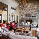 Wine Barrel Chandelier  Traditional Living Room with Wood Ceiling